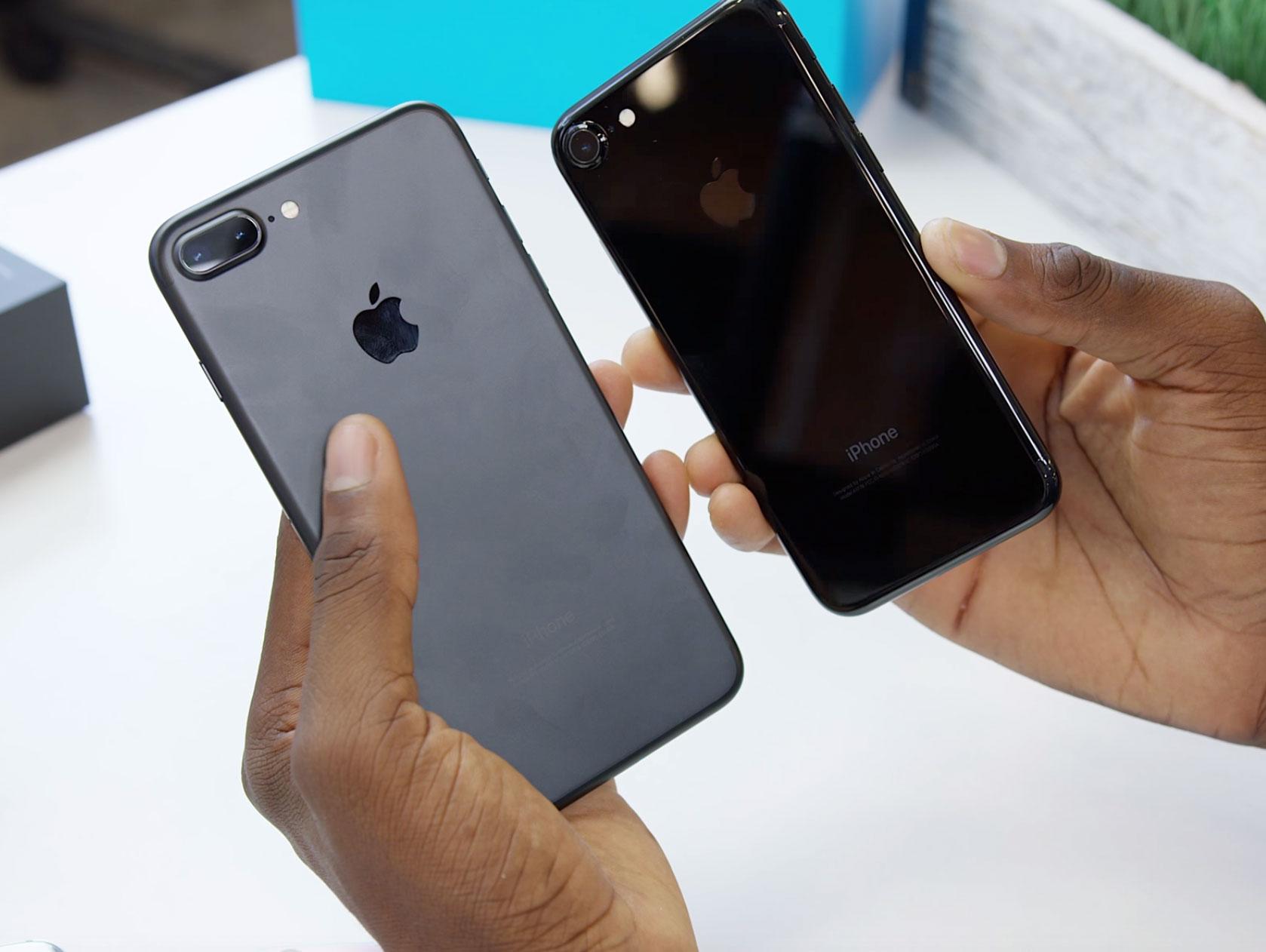 iPhone 7 Plus negro y iPhone 7 Jet Black