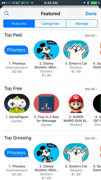 Stickers Phoneys que engaña a usuarios en la App de Mensajes