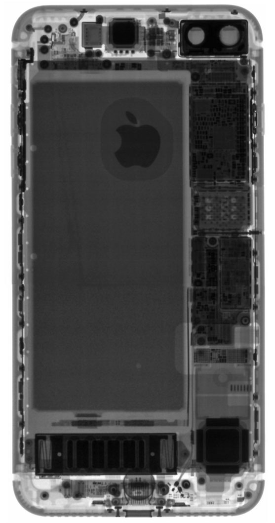 iPhone siete Plus visto por rayos x