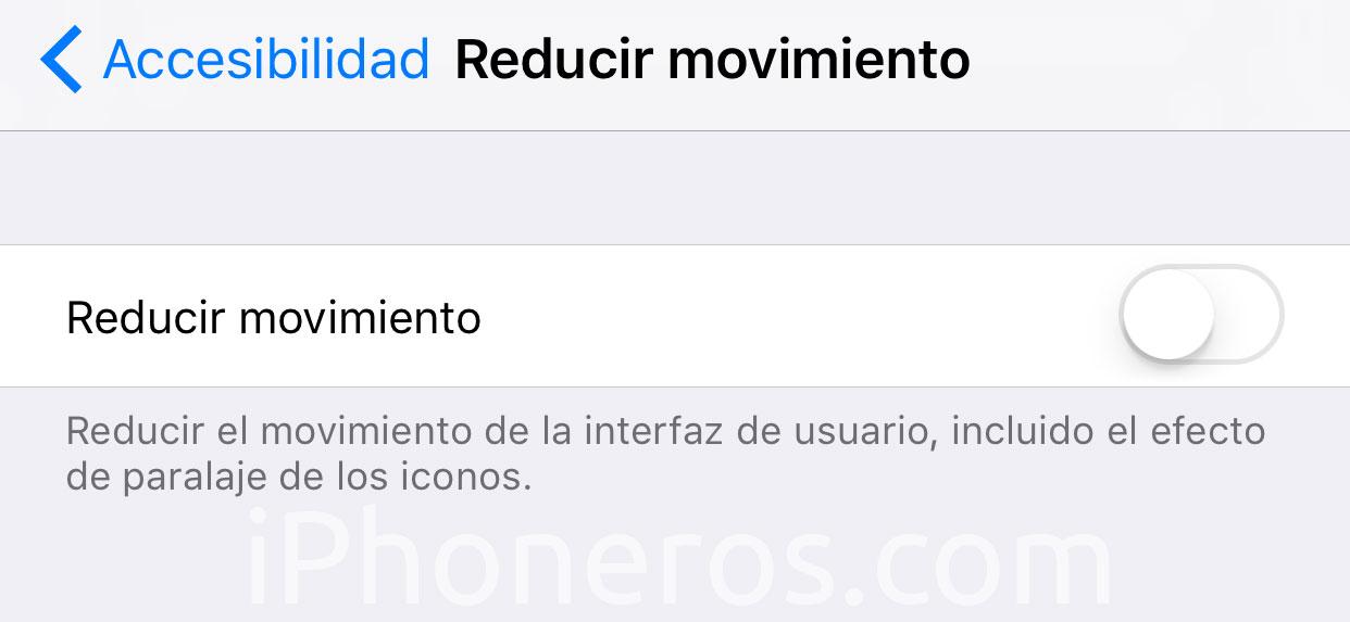 Ajuste para Reducir el desplazamiento en iOS