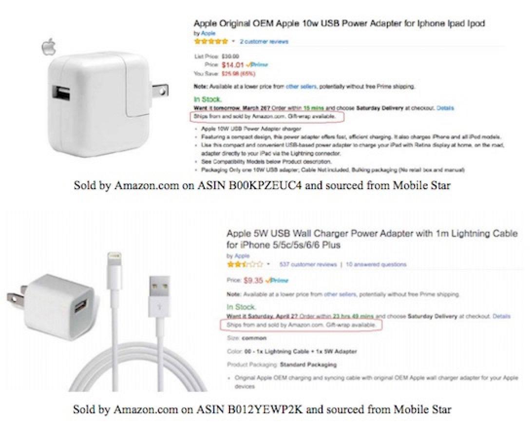 Cargadores falsos de iPhone en Amazon