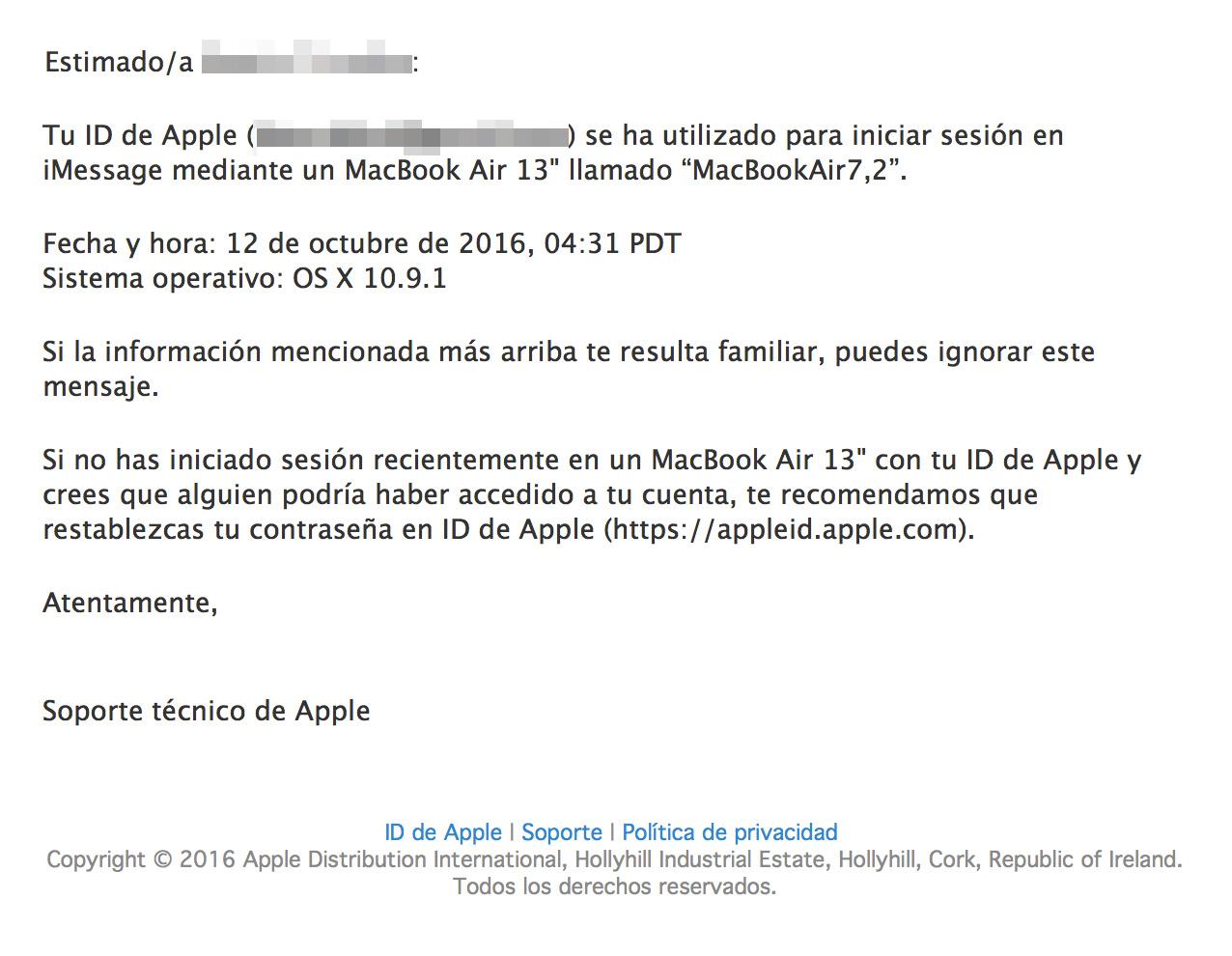 Email de aviso de acceso a la cuenta de Apple