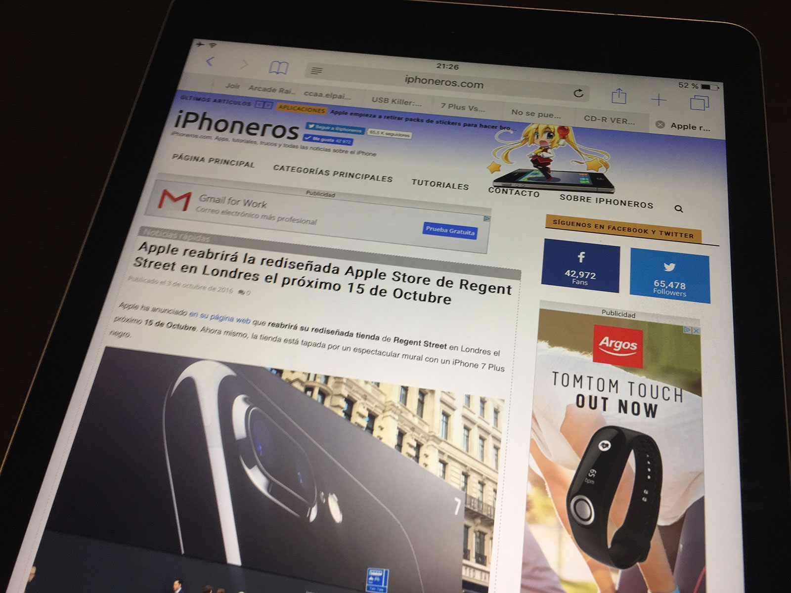 iPad Pro de 9,7 pulgadas con iPhoneros.com cargado