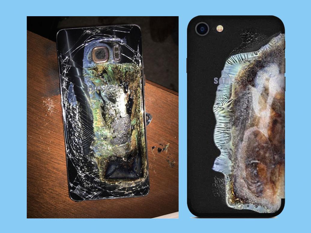 Funda de iPhone que simula un Galaxy Note 7 quemado