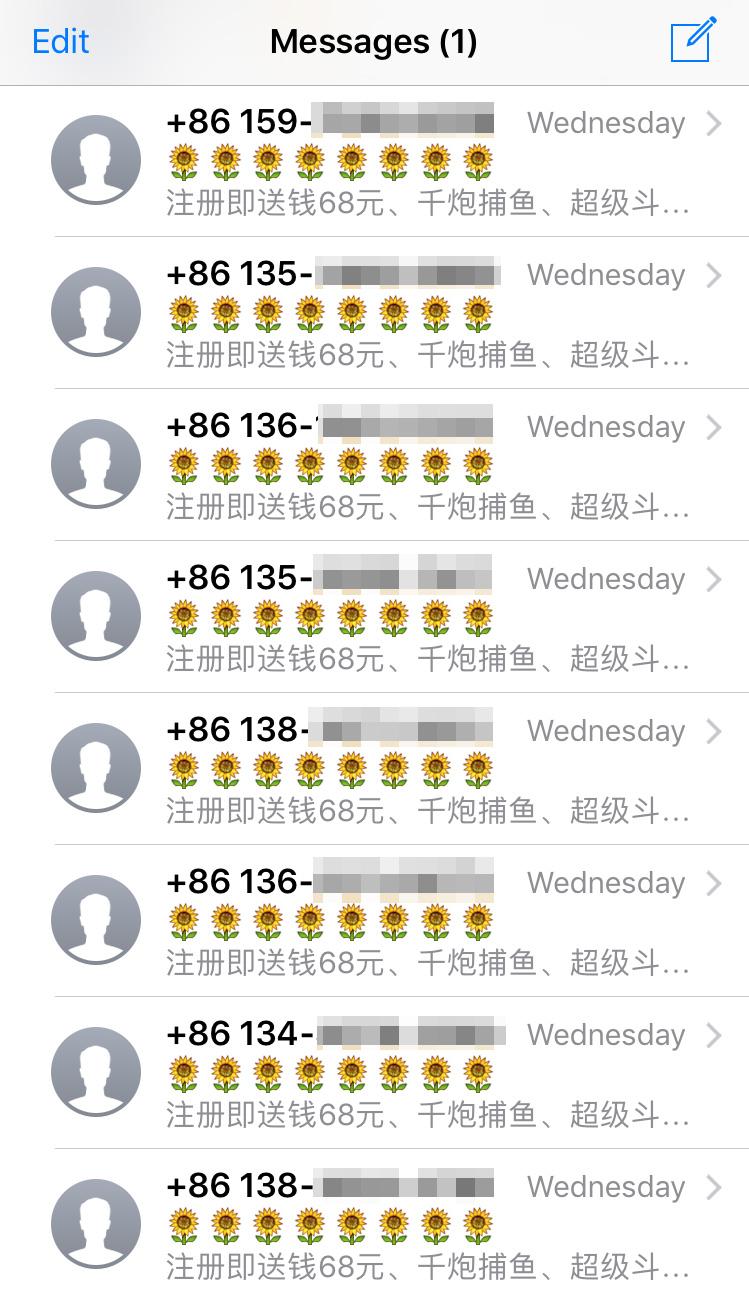 Spam enviado desde iMessage