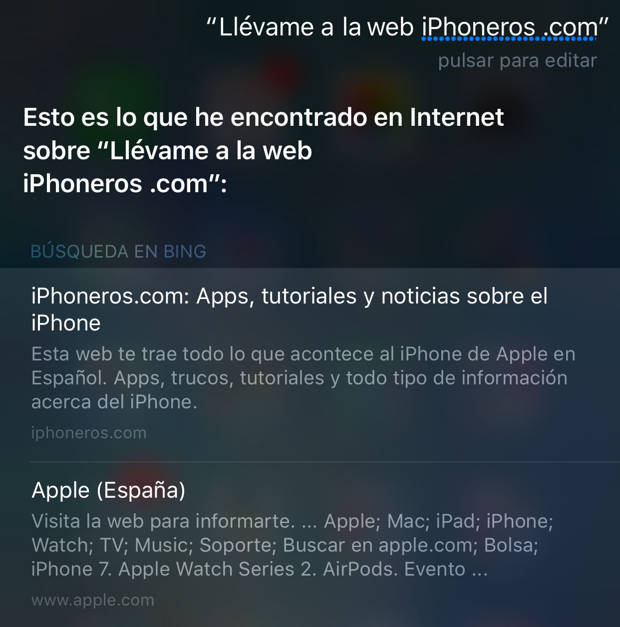 Siri no es apto de identificar webs