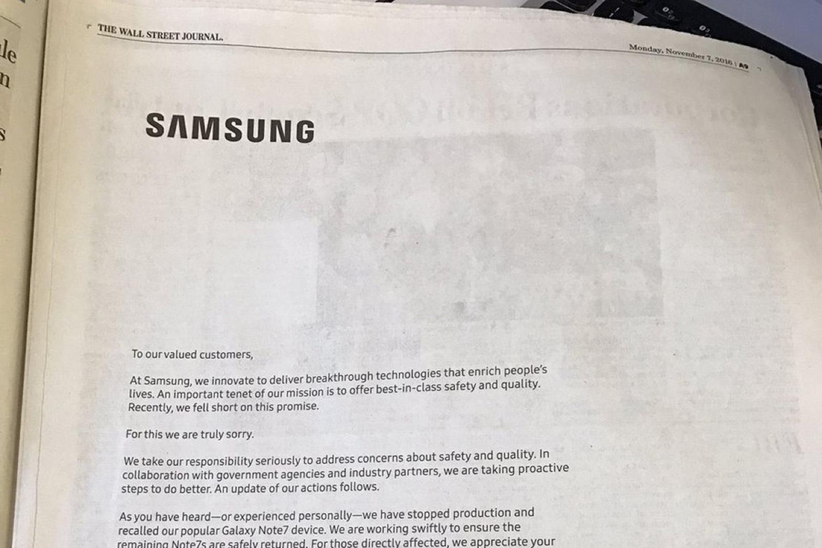 Disculpas de Samsung