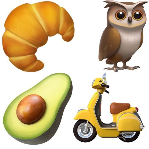Emojis de aguacate, buho, moto y croissant