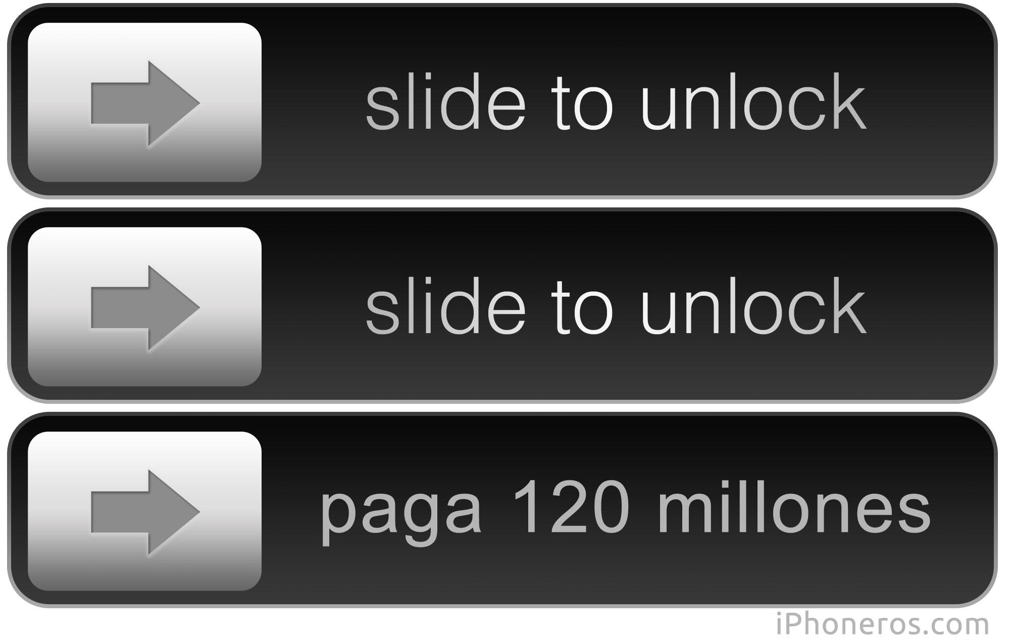 Slide to unlock deslizar para desbloquear paga 120 millones