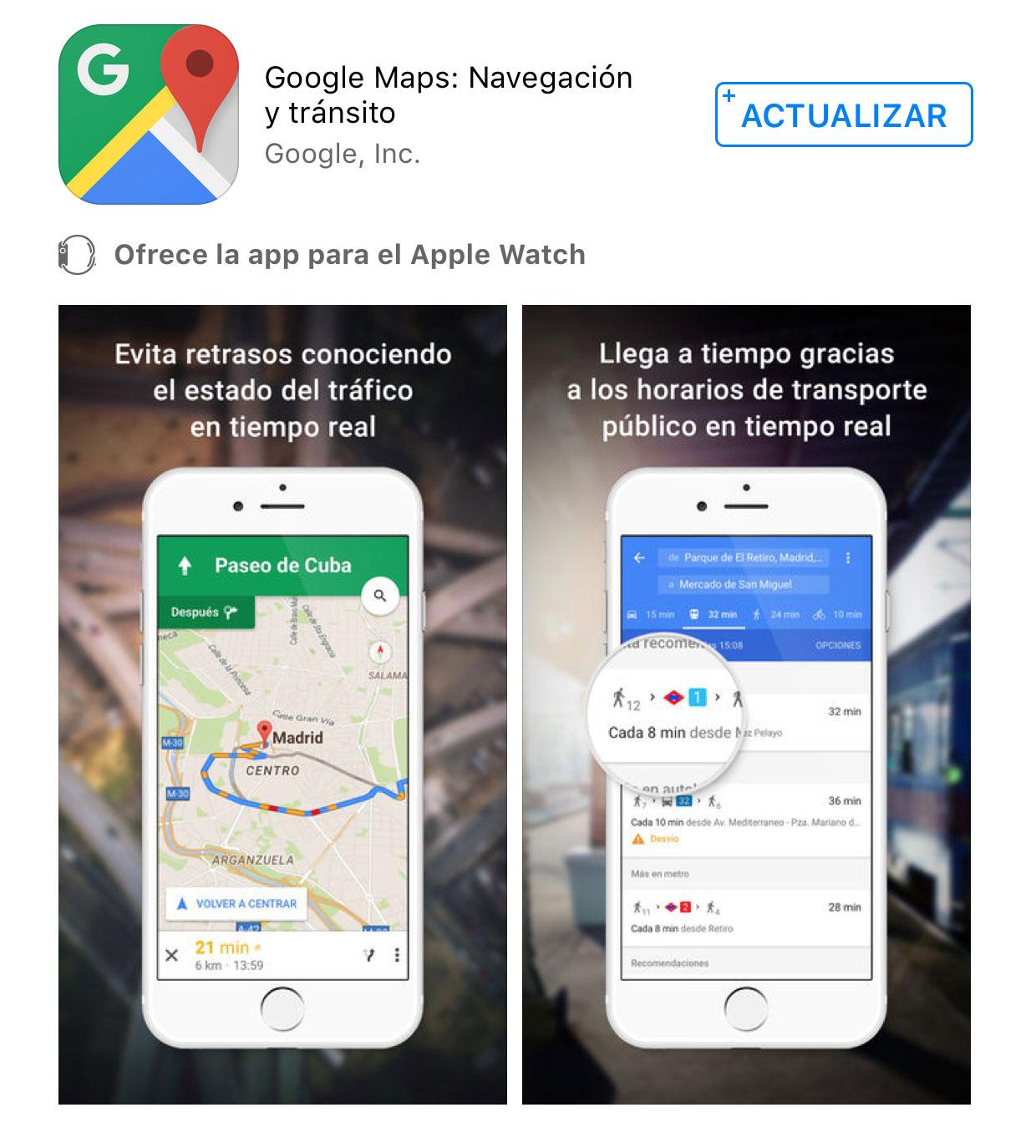 Google Maps se actualiza con un nuevo Widget de tráfico cercano