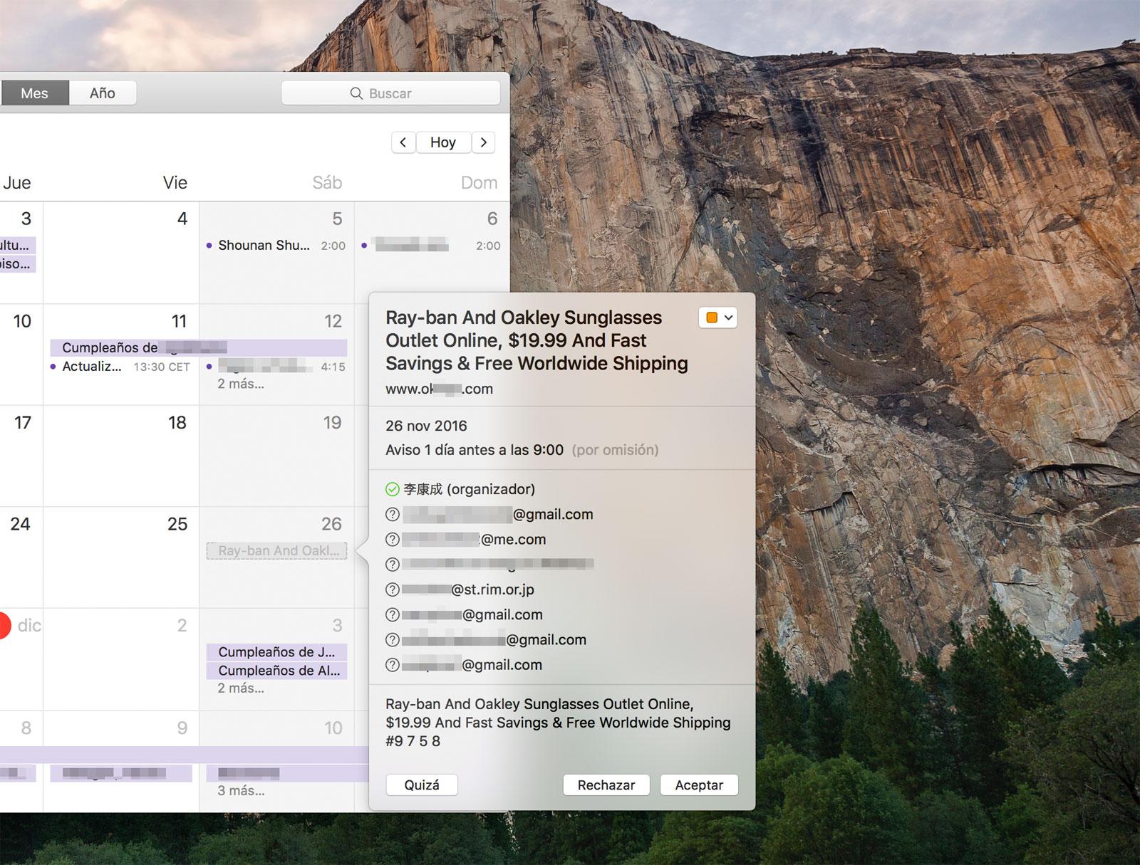 Spam en el calendario de iCloud