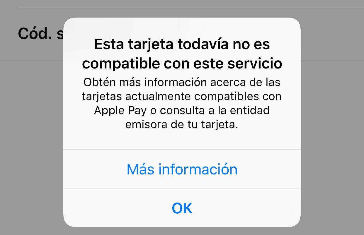 Mensaje de error cuando una tarjeta no es admitida en Apple Pay