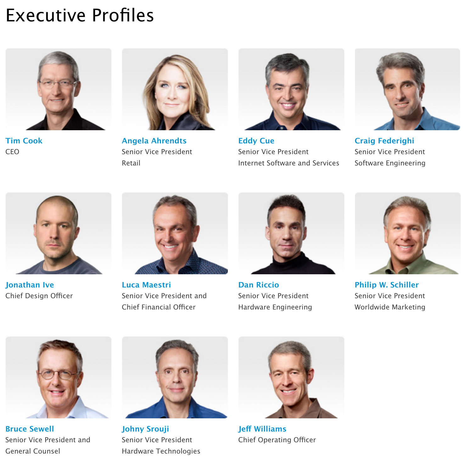 Junta directiva de Apple en Diciembre de 2016