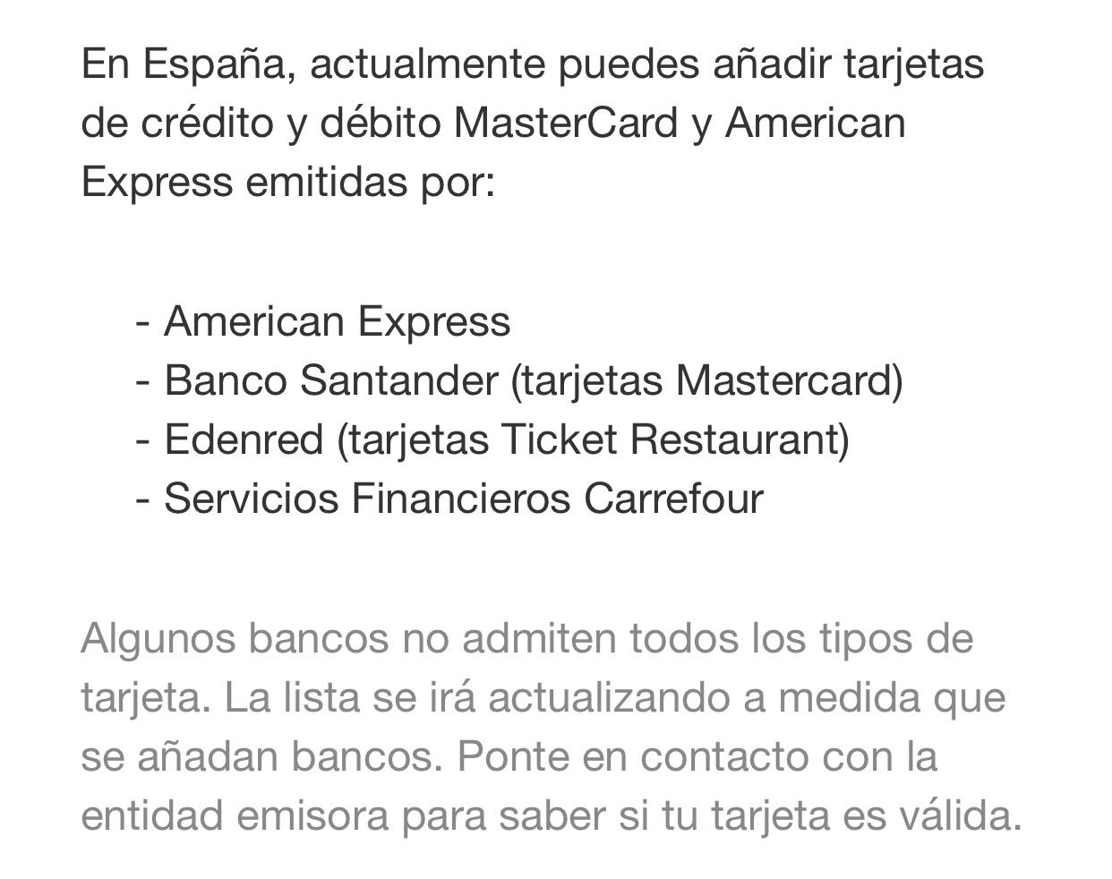 Tarjetas admitidas en Apple Pay España en Diciembre 2016