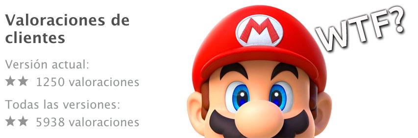 Valoraciones bajas en Super Mario Run