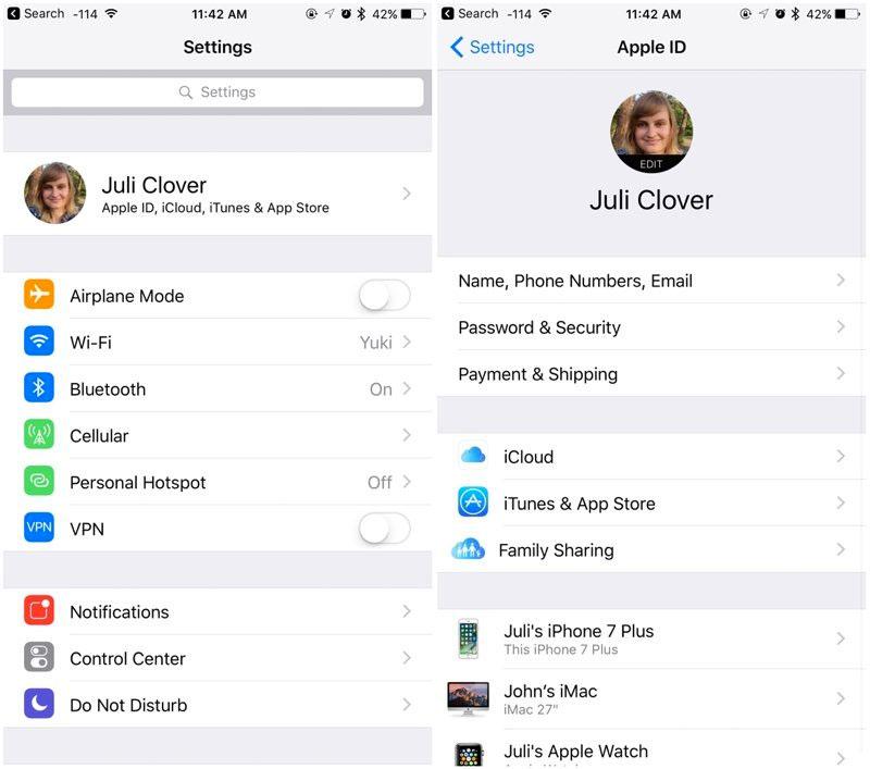 Detalles de la cuenta de iCloud en iOS 10.3