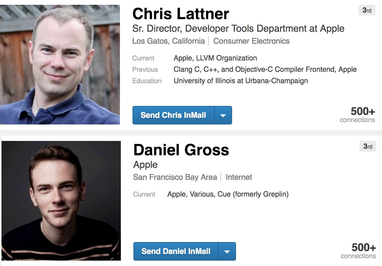 Daniel Gross y Chris Lattner en LinkedIn