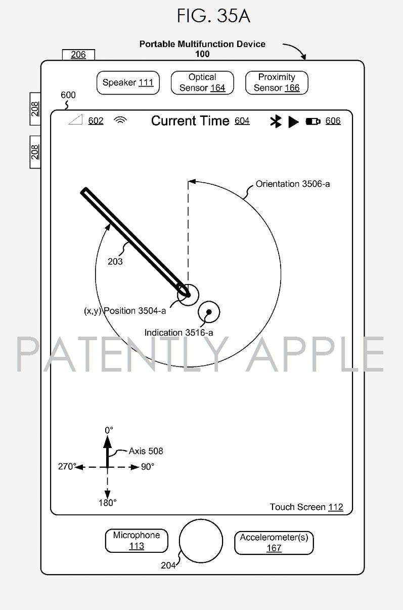Apple Pencil en una patente, funcionando en un iPhone