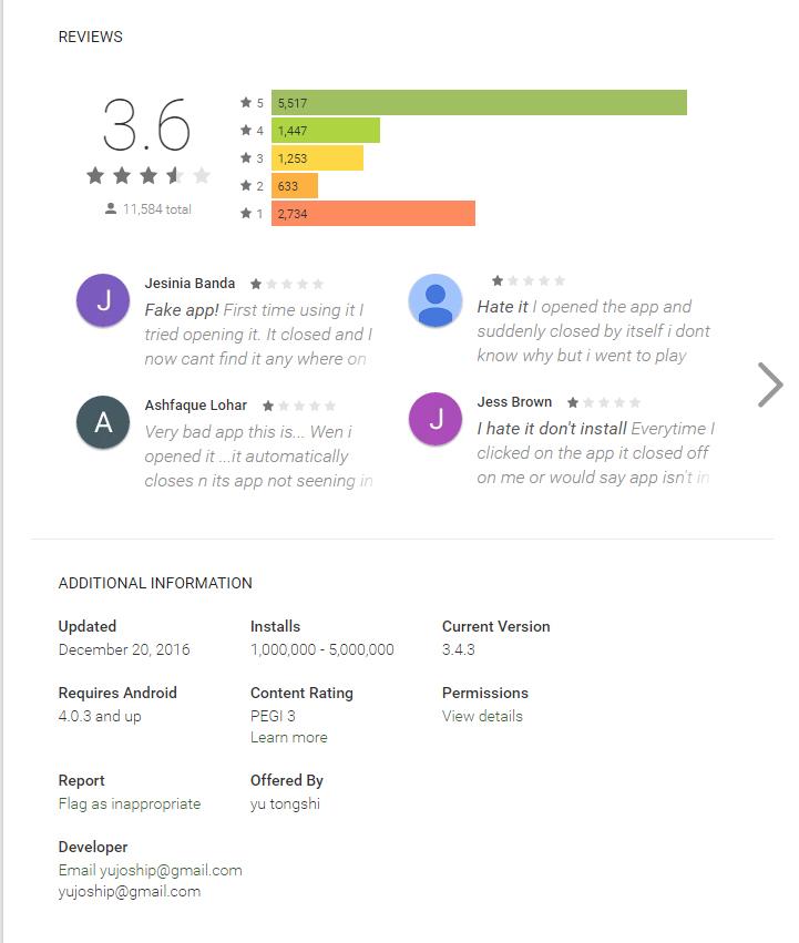 Reseñas quejándose de una App en Google Play