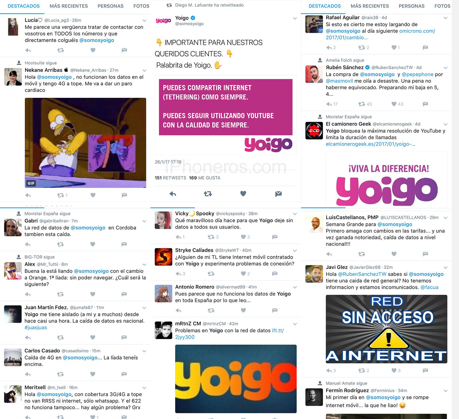 Twitter se queja de Yoigo por su caída de servicio