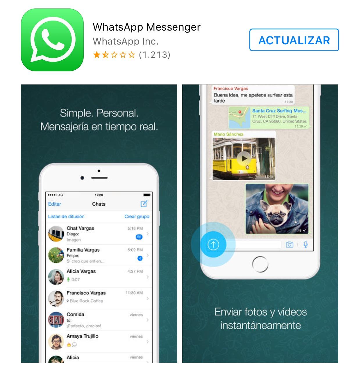 WhatsApp libre para actualizar
