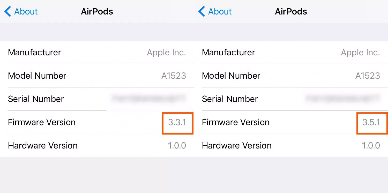Versión del firmware de los AirPods
