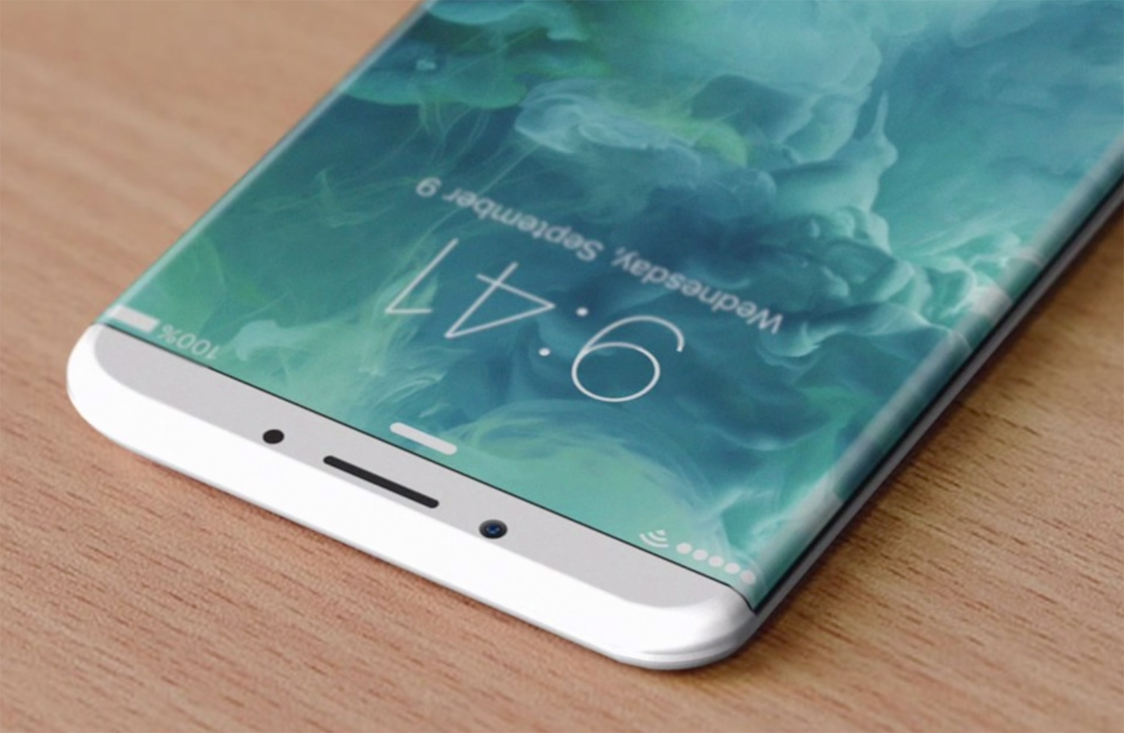 Concepto de boceto iPhone ocho con bordes de monitor doblados