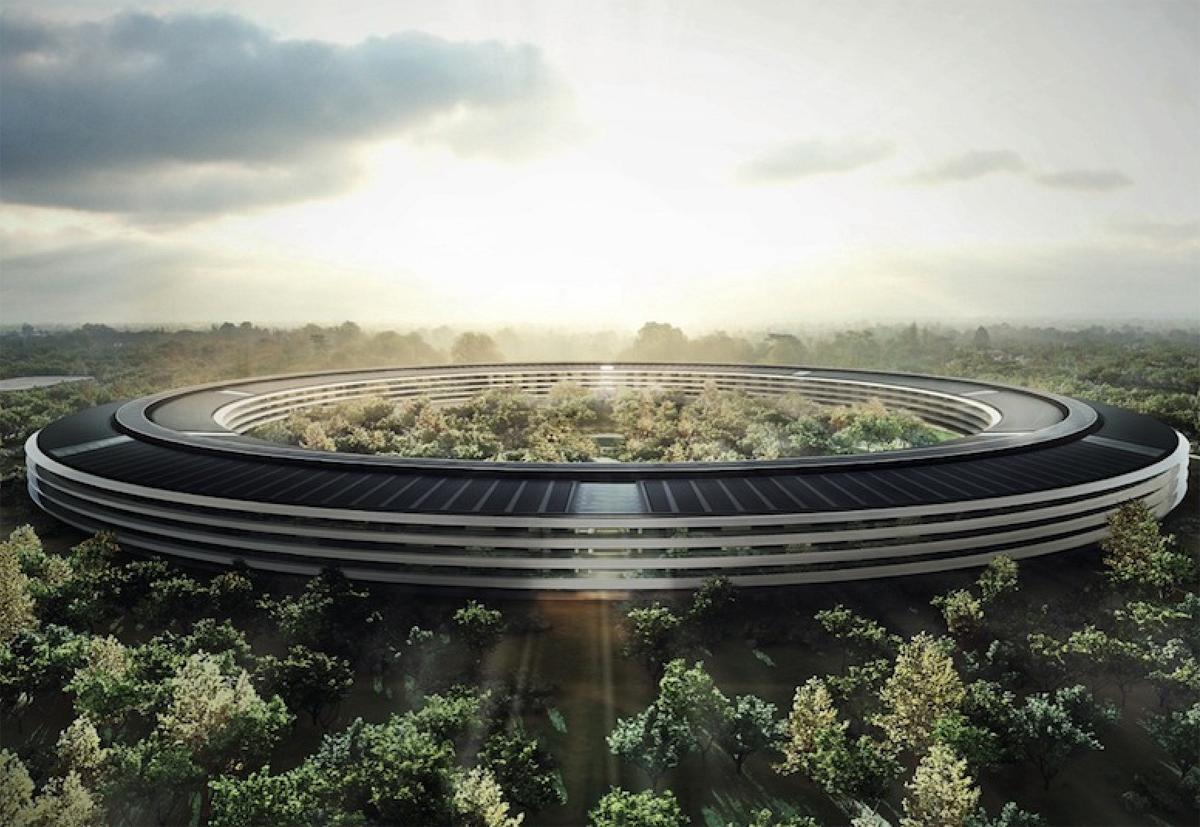 Nave espcial o nuevas oficinas de Apple en el Campus 2 (render)