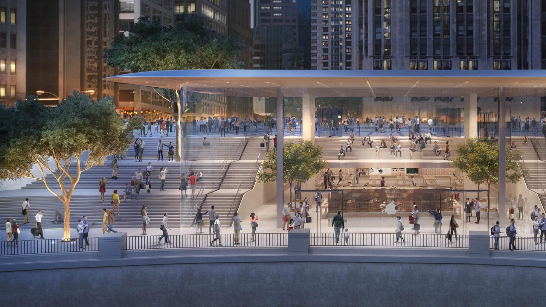 Imagen generada por ordenador de la futura Apple™ Store de Chicago River