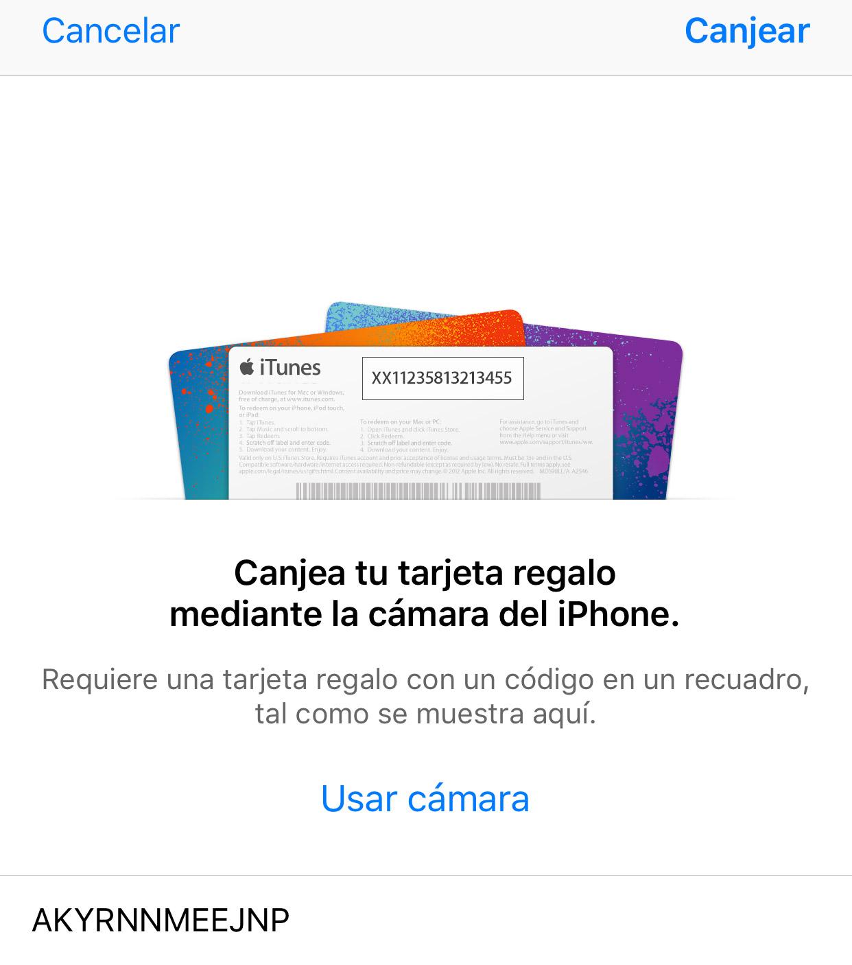 Canjeando un cupón en la App Store