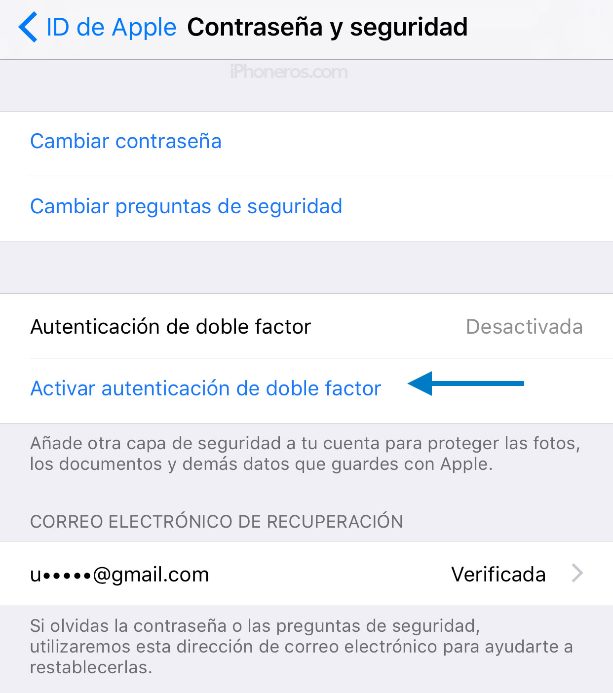 Activar autenticación de doble factor
