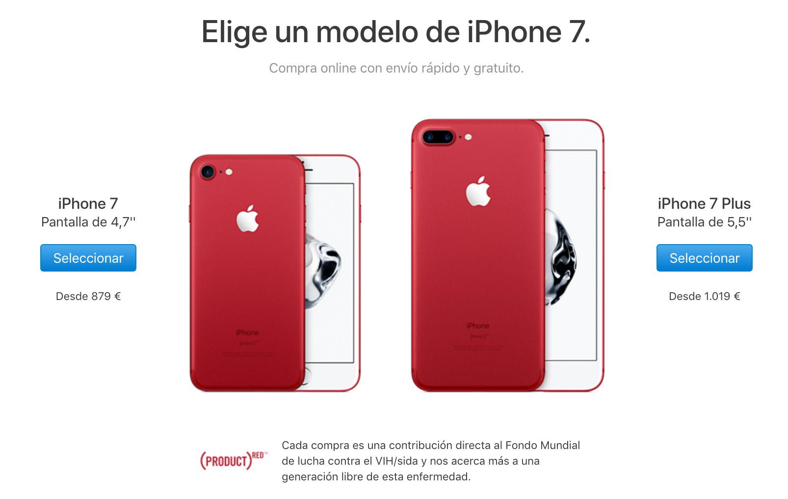 iPhone siete PRODUCT(RED) ya a la venta
