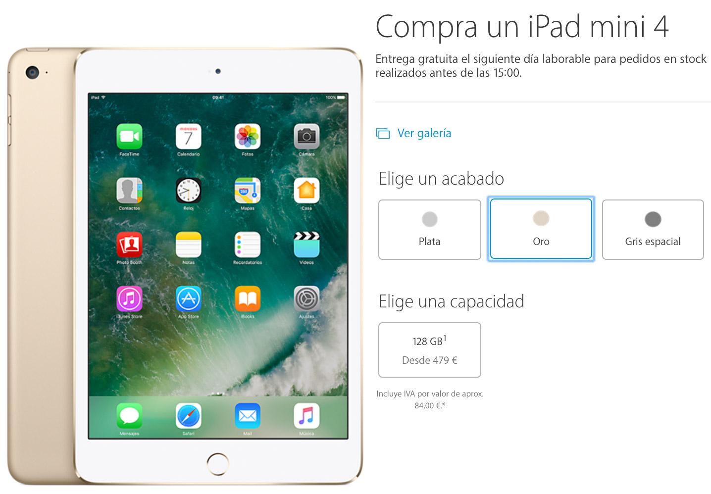 El iPad mini cuatro dobla su capacidad de almacenamiento