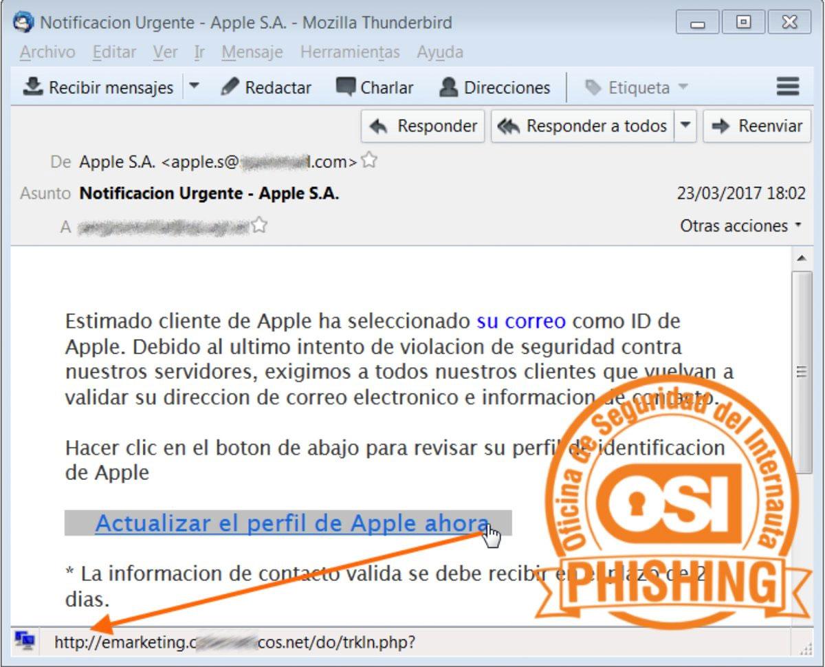 Intento de phishing