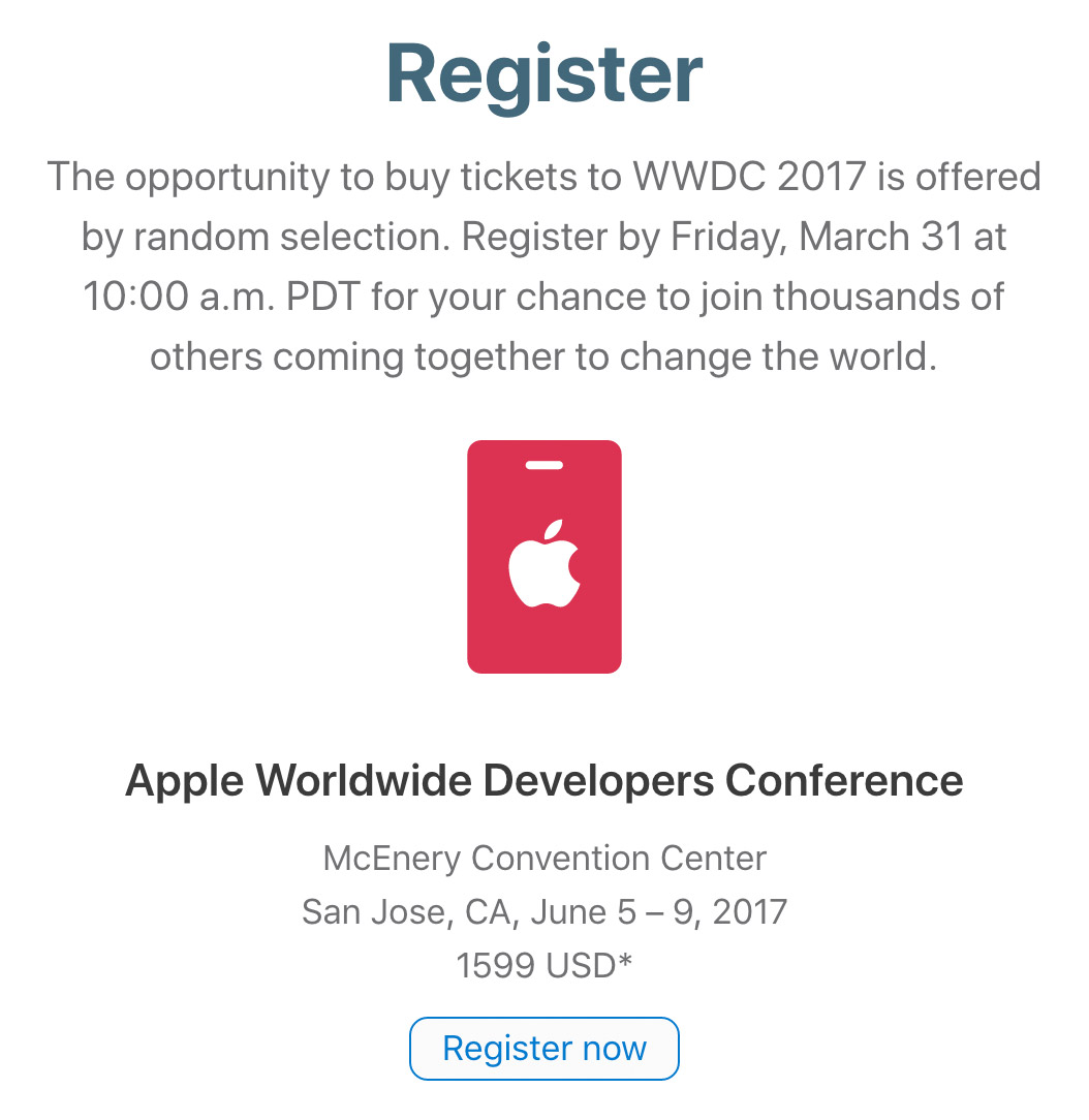 Registro para la WWDC 2017