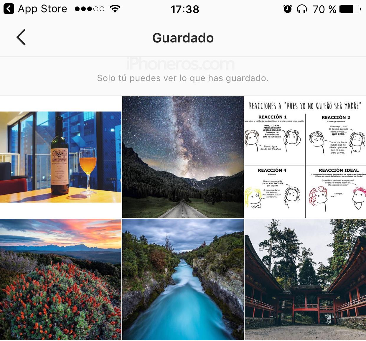 Imágenes guardadas como preferidos en Instagram