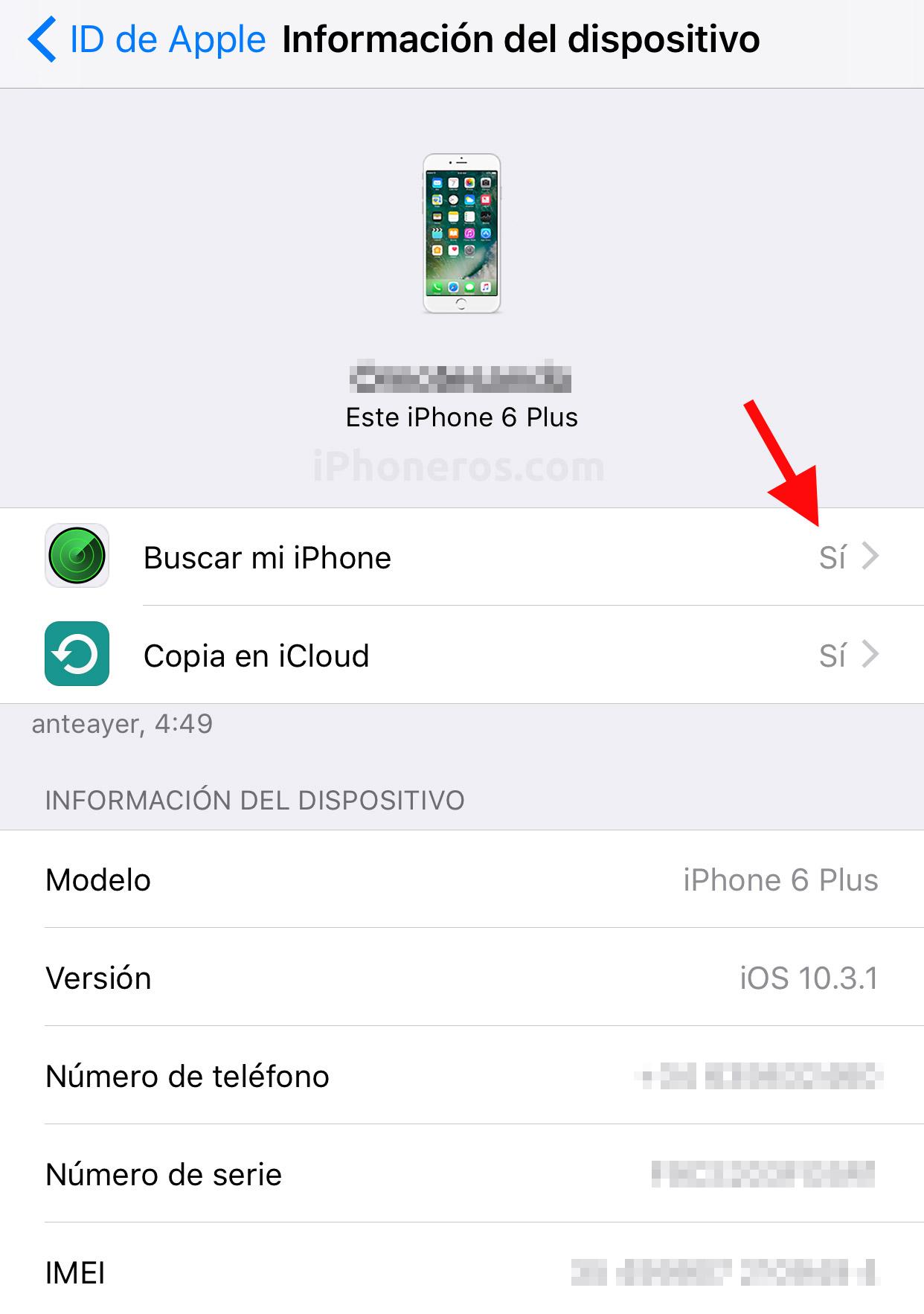 Opción de Buscar mi iPhone activada