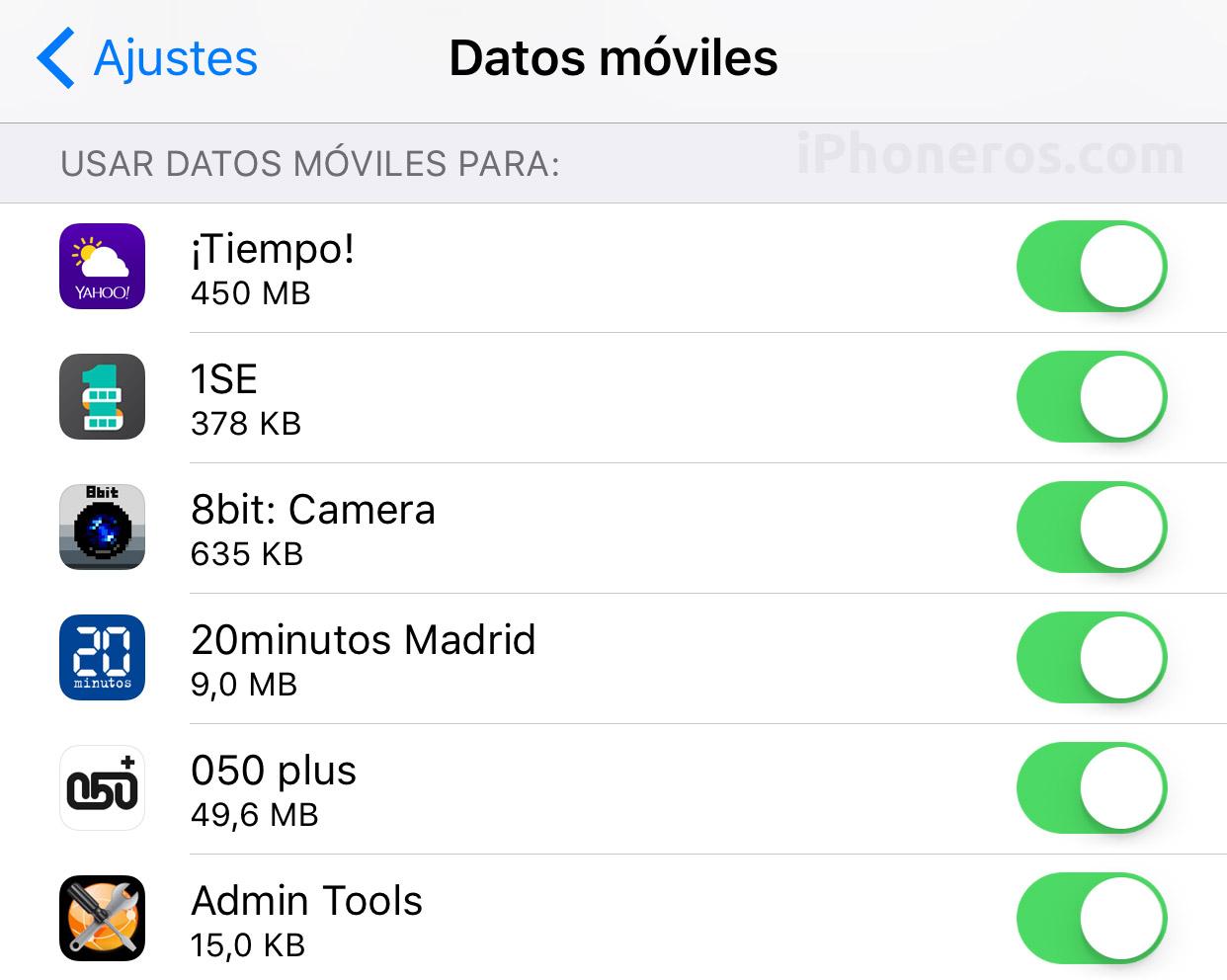 Consumo de Datos celulares en la App de Ajustes