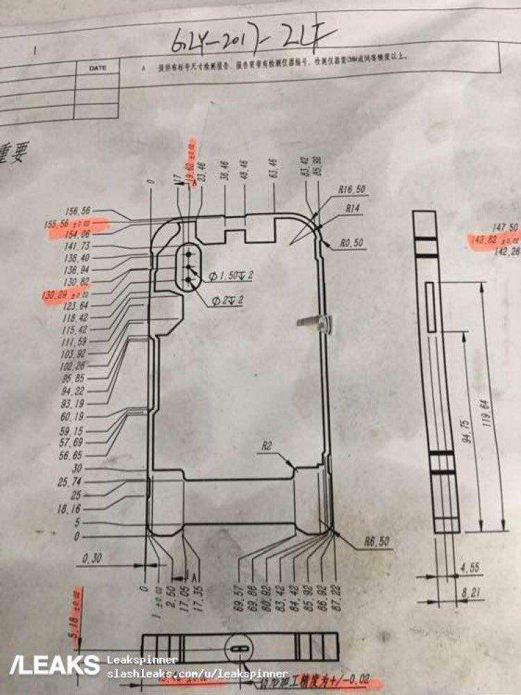 Supuesto molde de fabricación de la carcasa del iPhone 8