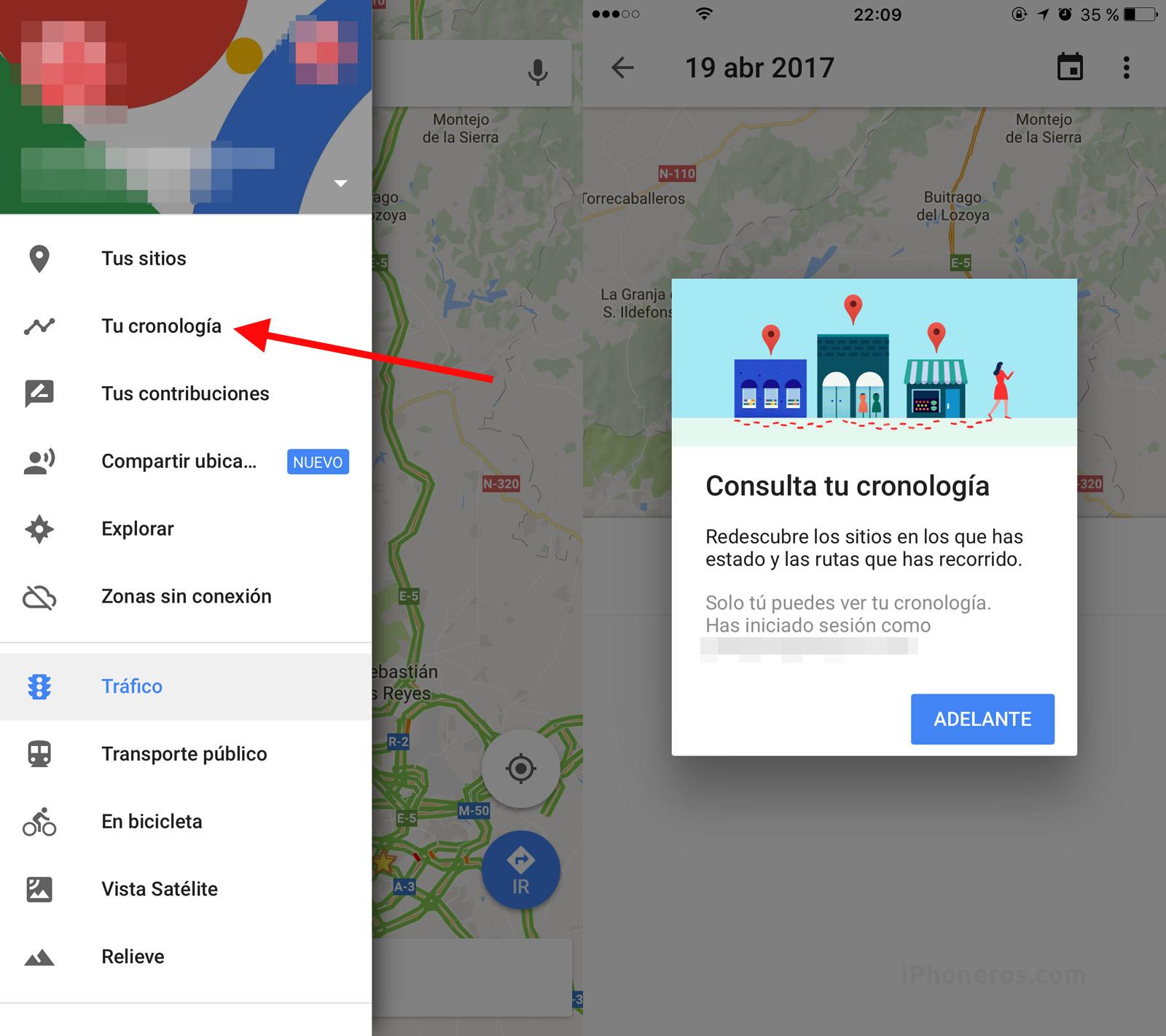 Google Maps con alternativa de cronología de lugares