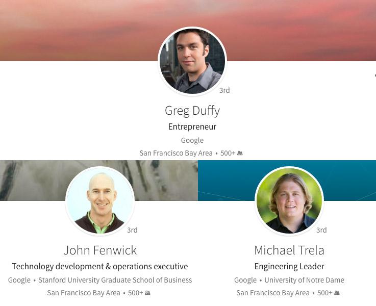 Perfiles de Linked in de Duffy, Trela y Fenwick