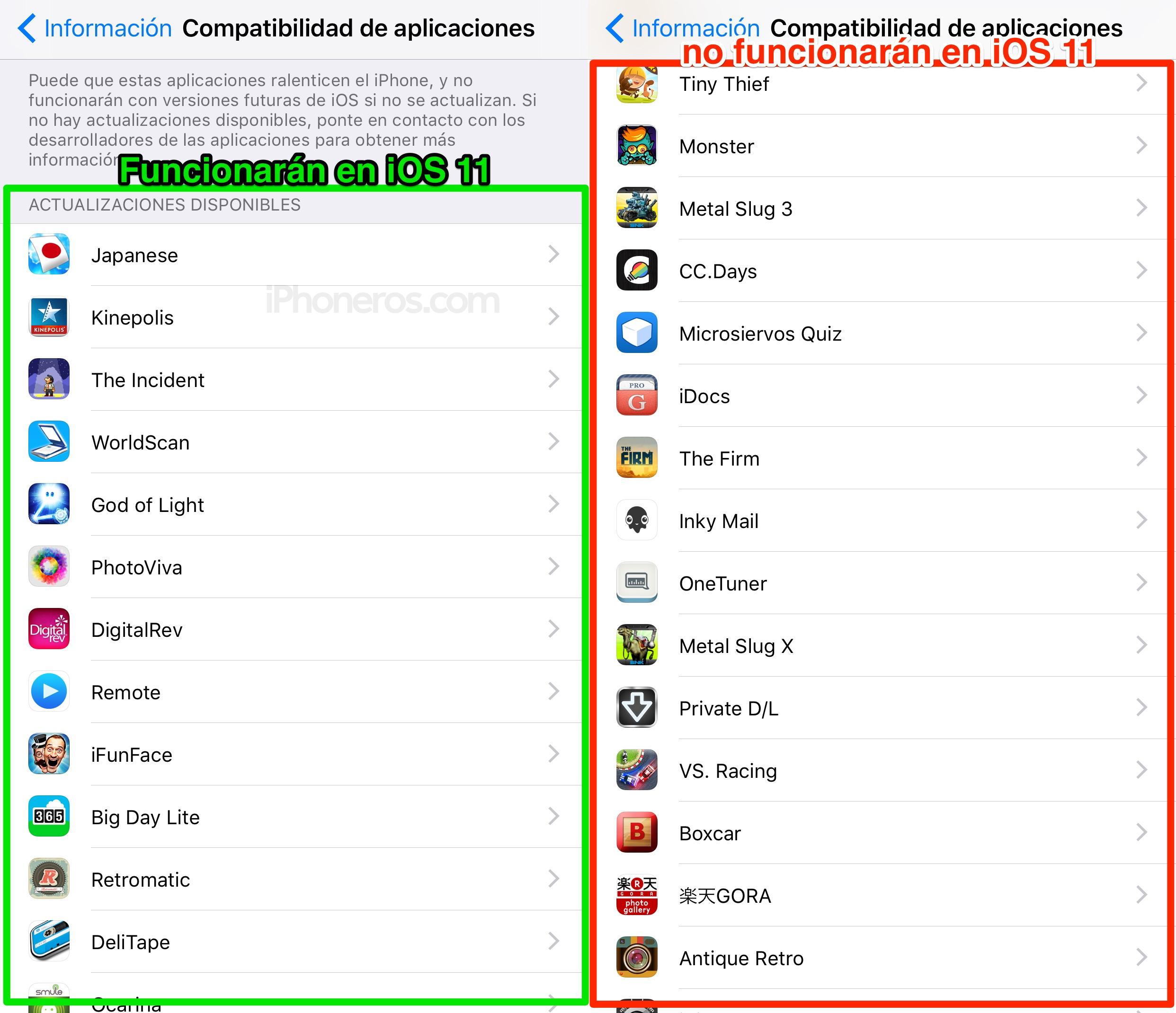 Lista de Apps que no funcionarán en iOS™ 11