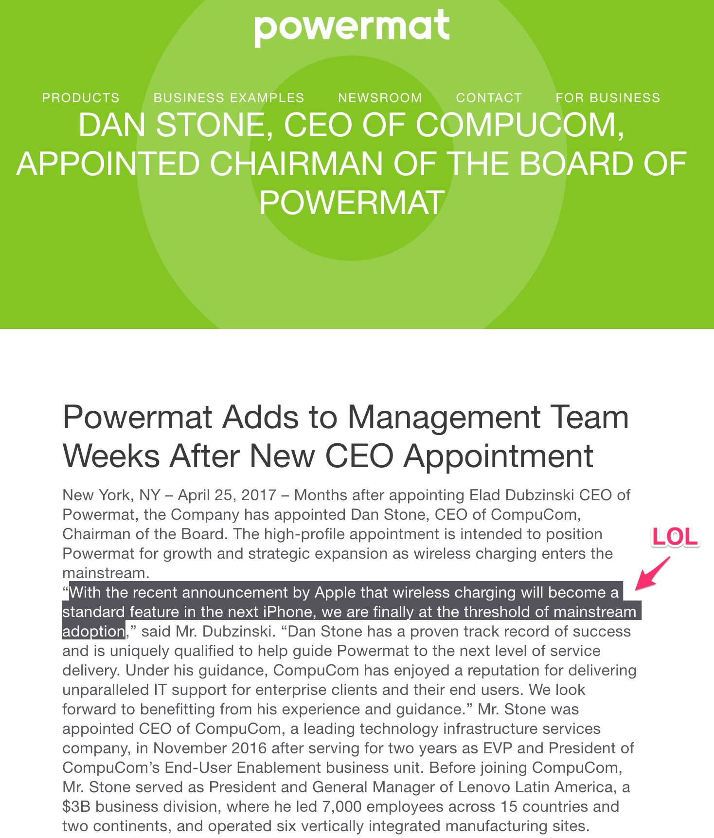 Nota de prensa de Powermat