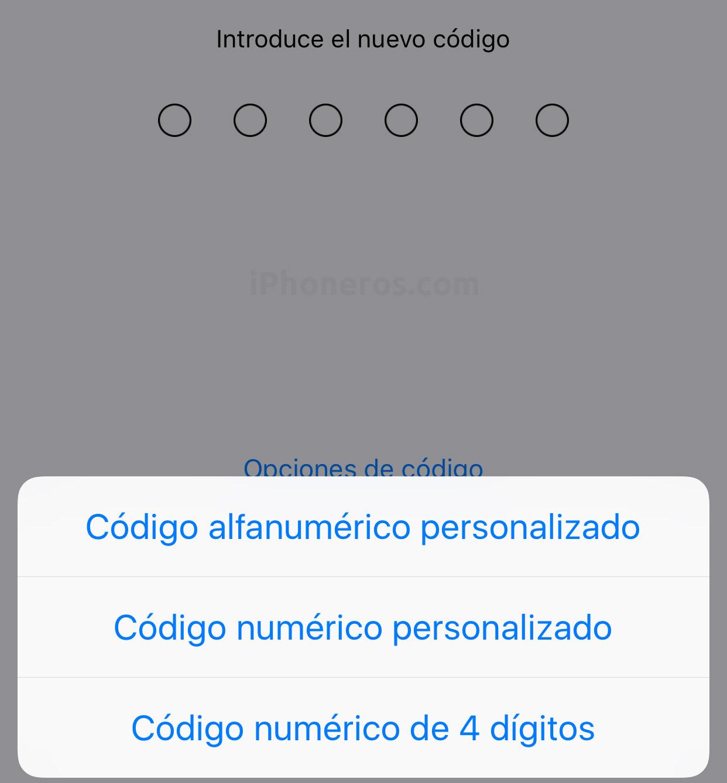 Cambiando el código de seguridad en la App de Ajustes
