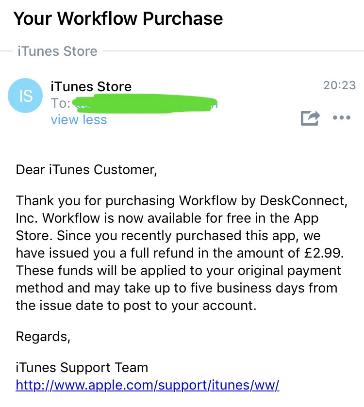 Devolución de dinero de Workflow