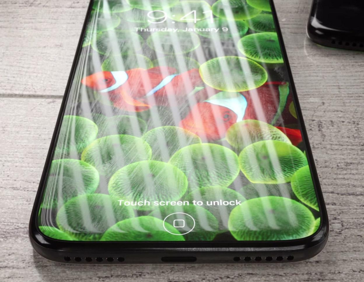 Concepto de boceto de iPhone ocho todo pantalla