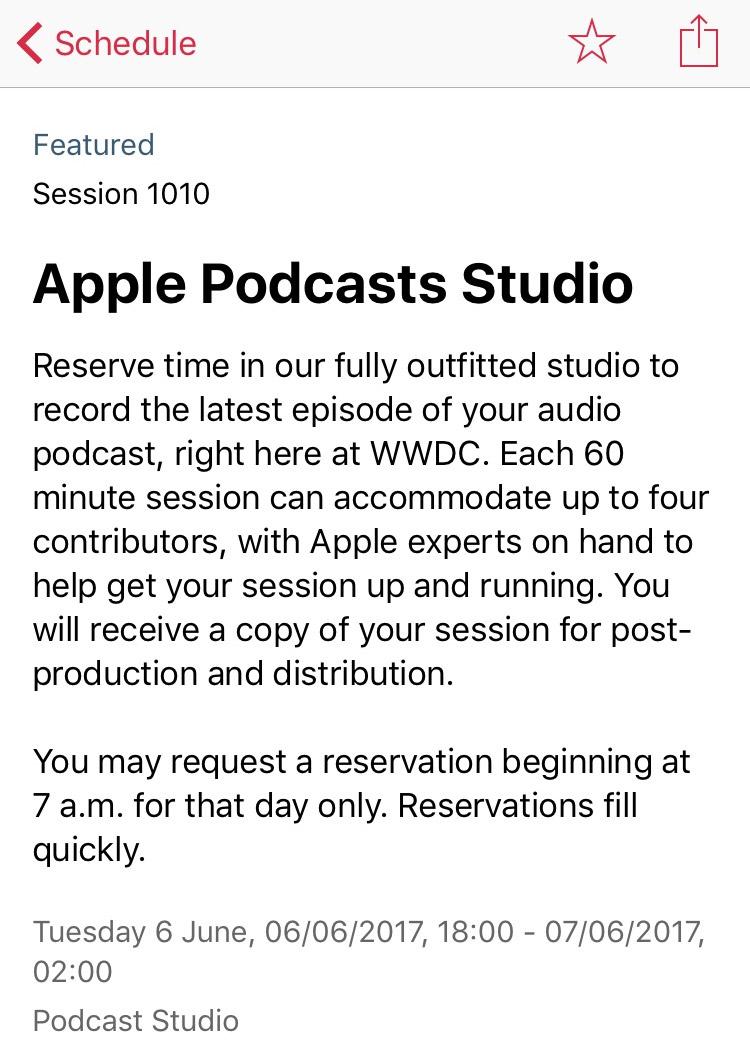 Podcast Studio en la App de la WWDC 2017