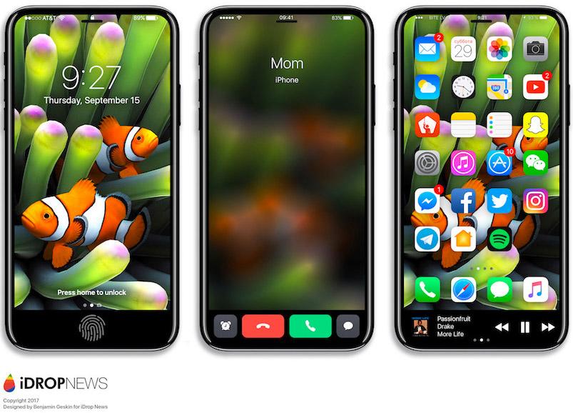 Concepto de diseño de iPhone todo pantalla