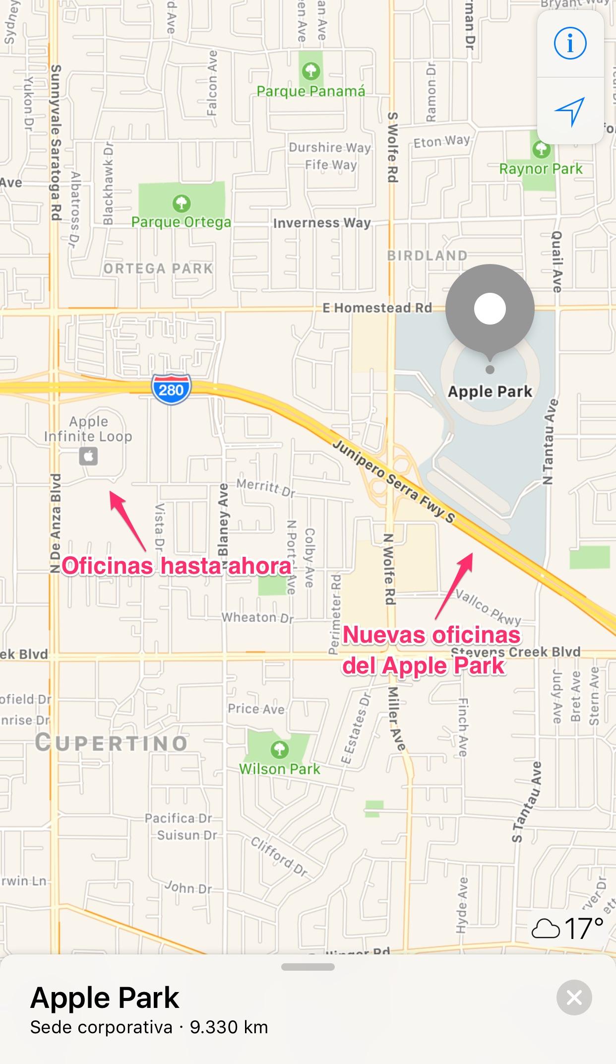 Distancia entre las oficinas de Apple™ y el Apple™ Park