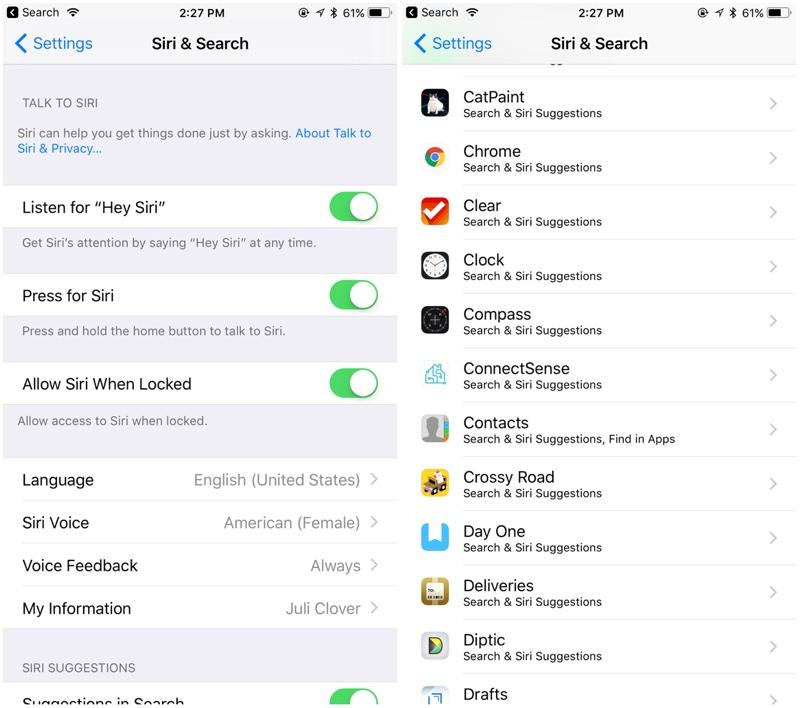 Ajustes de búsqueda en iOS™ 11